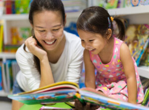 Reading to young girl